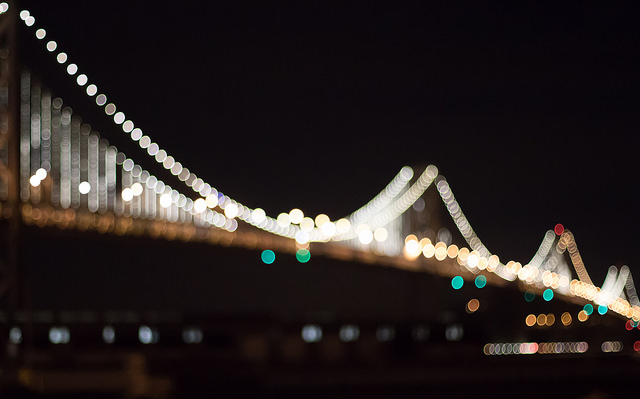 Abstract photograph of expansion bridge at night with lights on