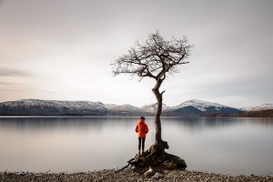 photograph of individual standing lakeside beside Loch Lomond's famous tree with an overcast sky by Michal Ziembicki https://flic.kr/p/r7HEy6